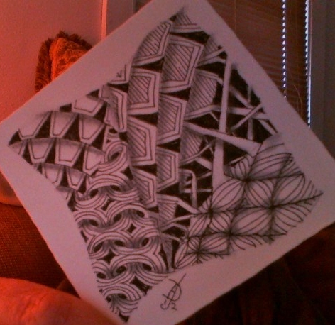 A Zentangle with Shing, a tangle by Margaret Bremner